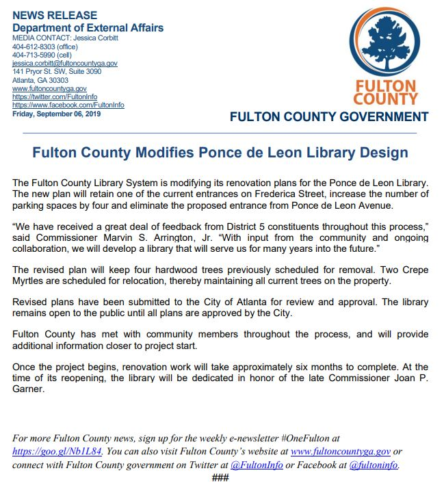 fulton country ponce de leon news release