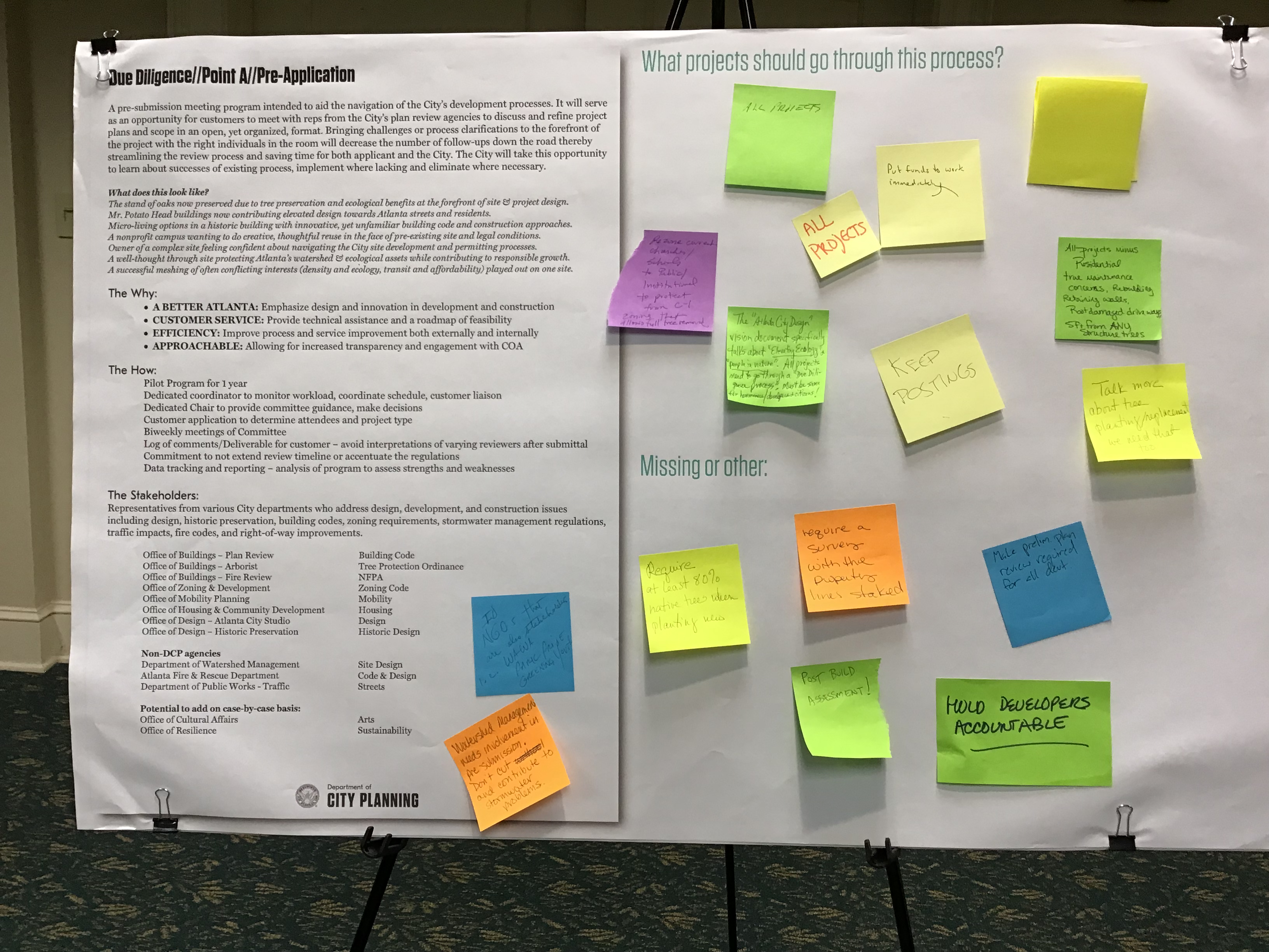 due diligence - point a - pre-application - sticky note board